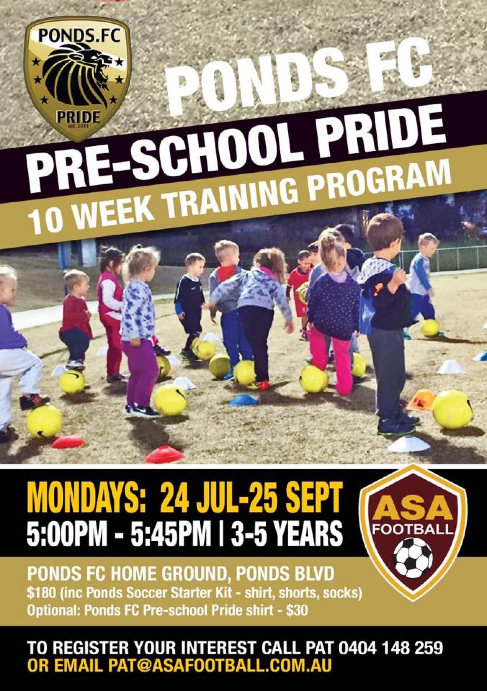 Ponds FC Pre-school Pride 10 week training program