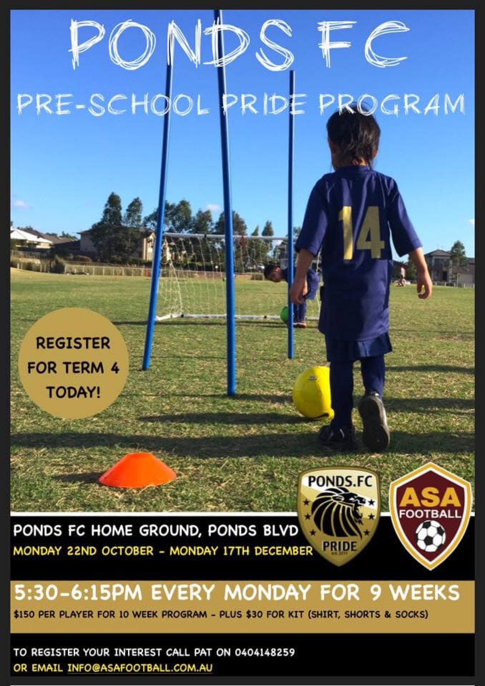 Preschool pride is back if you are interested call or email pat or rob