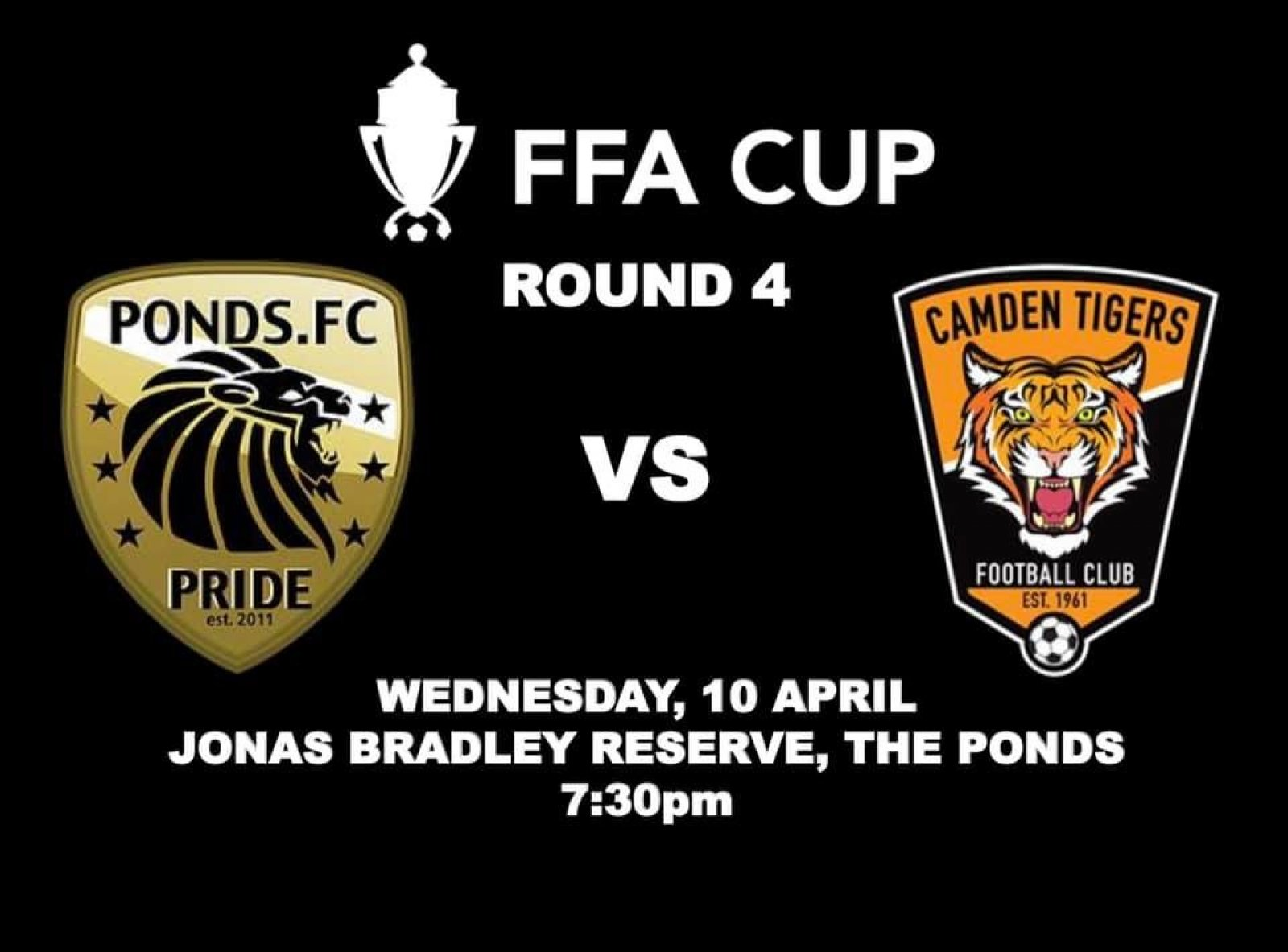 It's confirmed, our Advanced Solar Premier League Side will be taking on NPL outfit, Camden Tigers Football Club in our Round 4 FFA clash!