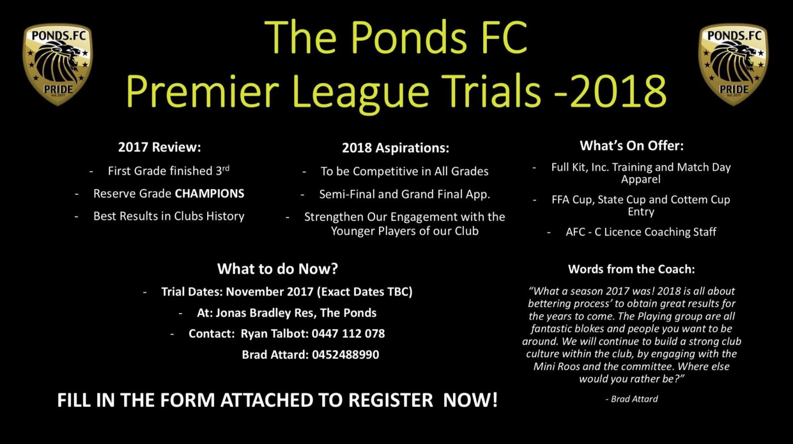 Ponds FC Premier League Trials 2018