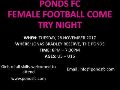 Ponds FC Female - Soccer Try Night - 28/11/2017